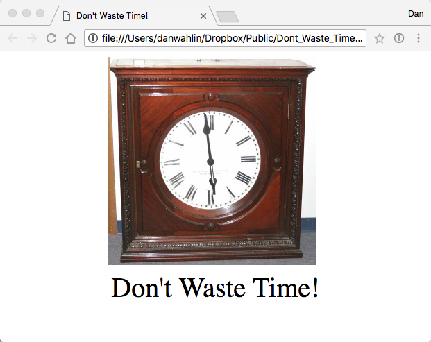 Don't Waste Time Clock Image